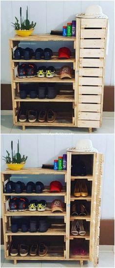 Wooden Pallet Shelves, Wooden Pallet Projects, Wooden Pallet Furniture, Wooden Pallets, Wooden Diy, Pallet Wood, Pallet Ideas, Diy Furniture, Shoe Rack Cabinet Design