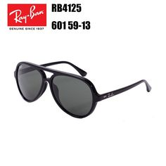 88a0bf4c8f Ray-Ban RB4125 601 59-13 Cats 5000 Classic Clubmaster Sunglasses