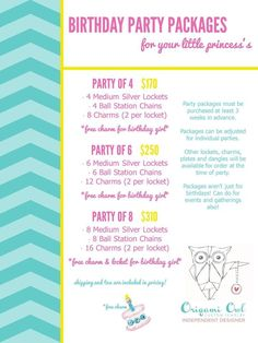 Why not celebrate a birthday party with Origami Owl... Packages also available for bridal parties, quinces, Girl Scout troops, and any other occasion