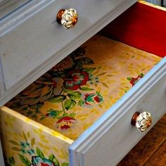 Elegant Liner:A drawer liner is an elementary way to enter the world of wallpapering—and a quick project to liven up drawers in the kitchen, bedroom, or bath. All this simple project requires are some good measurements and sharp scissors. Step it up a notch and cover the drawer's sides for a little added eye candy.