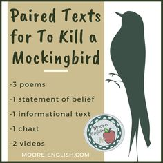Paired Texts for To Kill a Mockingbird / Moore English Teaching Literature, Teaching Reading, English Literature, Teaching Ideas, Teaching Strategies, Teaching Materials, Teaching Tools, Reading Lists, Learning