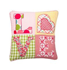 Love Patchwork Cushion Cover 30x30 by Room Seven
