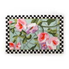 MacKenzie-Childs Courtly Checks Chelsea Garden Bath Rug for sale online How To Lay Tile, Mckenzie And Childs, Chelsea Garden, Flowering Vines, Flower Market, Bath Rugs, Rug Making, Decorative Accessories, Rug Size