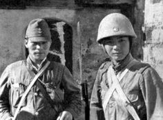 WWII Young Japanese Soldier & Marine In Uniform B&W Photo