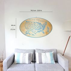 Wooden USA wall map