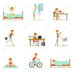 Modern woman daily routine from morning to evening series of cartoon illustrations with happy character. normal work day life scenes of smiling person from Daily Routine Activities, Morning Activities, Good Morning Gorgeous, Good Morning Good Night, Illustration Art Drawing, Cartoon Illustrations, Smiling Person, Morning Thoughts, Photo Images