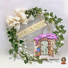 "Wreath created with ""Welcome Home"" digital stamp from Beccy's Place How To Make Bows, How To Make Wreaths, Die Cut Letters, Welcome Banner, Spectrum Noir, Wired Ribbon, Digital Stamps, Digital Image, White Flowers"