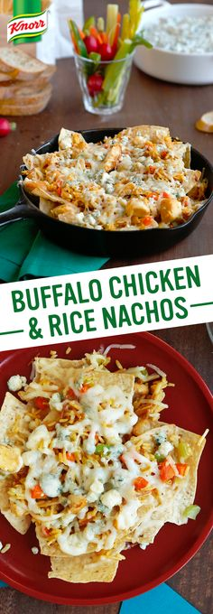 Looking for the best football food recipe? Score a touchdown at your next tailgate party with Knorr's Buffalo Chicken & Rice Nachos! This easy to make meal is sure to please a crowd, team & your whole family! 1. Preheat oven. Arrange chips on baking sheets 2. Top w/ Buffalo Chicken & Rice, sprinkle w/ crumbled blue & shredded mozzarella cheese mix 3. Bake 10 min., until melted. Serve w/ hot sauce. Enjoy!