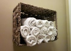 basket= bathroom shelf. So easy.