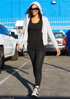 Looking lean: Tamar Braxton has been paired with Valentin Chmerkovskiy and wore all black with tight leggings which showed off her toned physique