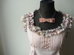 Tattered Pale Pink Empire Waist Blouse by GarageCoutureClothes