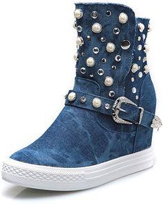 f25784fa67fc MForshop Damen Stiefel   Stiefeletten, Blau - Jeans Chiaro - Größe  39 EU