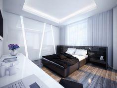 شقة عصرية بالابيض والاسود ,white-and-black-bedroom,