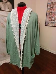 NEW Seafoam One Size Cotton & Lace Hooded Cardigan Sweater Front Pockets  | eBay