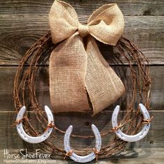 Barbwire Horseshoe Wreath, Horses, Equine, Cattle Brand, Rustic Home Decor, Etsy Shop - HorseShoeFever. Western Home Decor. Country Home Decor, Cabin, Ranch, Lodge, cowboy, cowgirl, gifts, southern, interior design, accents.