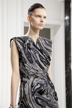 Marble Pattern Dress with beautifully raised textures - art with fabric; bold pattern fashion // Balenciaga