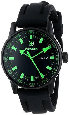 628ce1f8cfc Wenger Men s 70172 Commando Day Date XL Black Rubber Strap Watch Relógios  Desportivos De Homem