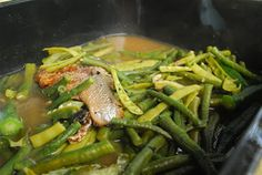 Ingredients: 1 pc bangus, grilled and shredded 2 cups malunggay leaves, washed 1 cup kalabasa flower 10 pcs okra, sliced 1 bundle string beans, sliced into | Panlasang Pinoy Recipes