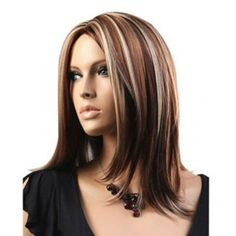 pics of high lights and low lights on medium length hair | ... Synthetic Medium Length Blonde and Brown Fashion Straight Hair Wig