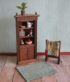 Two Vintage Dollhouse Miniatures  Corner Cabinet and by TheToyBox, $25.00