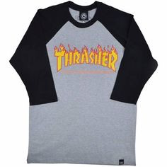 camiseta thrasher skateboarding mag raglan 3/4
