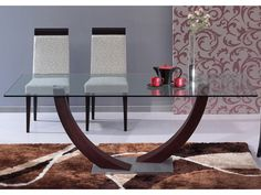 Table à manger MELODIE - 6 couverts - Verre trempé et wengé Glass Dinning Table, Dinning Table Design, Coffee Table To Dining Table, King Furniture, Table Furniture, Living Room Furniture, Furniture Design, Verre Design, Condo Living