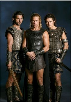 Brad Pitt, Orlando Bloom and Eric Bana in Troy (2004); metal armour ,shields and swords designed by Bob Ringwood.