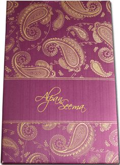 Decent & rich imported metallic shimmer finish padded card contains awesome paisley design all over in front. This magnificent invitation card comes with two elegant inserts and a boxed envelope.