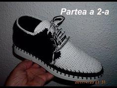 Pantofi crosetati de barbati - Partea II - YouTube