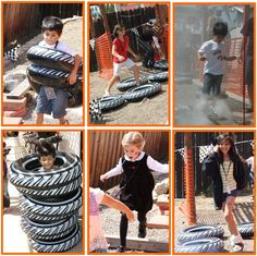 Monster Truck Party Obstacle Course - black swim tubes instead of tires, orange construction sheet for paths