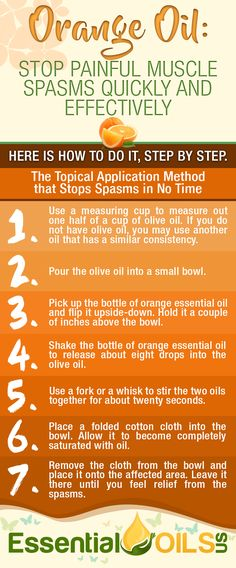 Stop painful muscle spasms quickly and effectively with orange essential oil. Make use of this topical application method to stop spasms in no time.