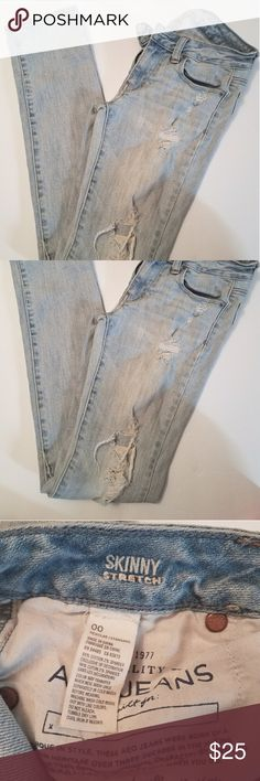 Abercrombie Denim Tore Up Straight Skinny Jeans In excellent condition! Super cute jeans, size 00 but can fit up to size 1. Looks greats with loose shirts or low cut boots for the winter! Check out my closet ❣ Abercrombie & Fitch Jeans Straight Leg