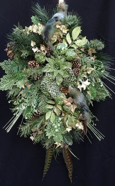 Stunning Elegant Green Swag featuring 2 Feathered Birds...Sequined Fruit, Glittered Mesh Bow, Leaves, Ivy, Pinecones and Feathers!