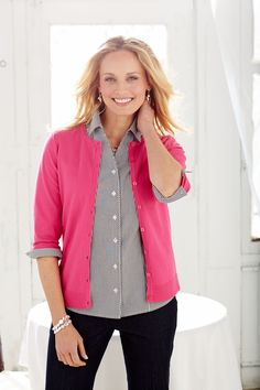 Layer The Wrinkle Resistant Shirt with a perfect cardigan for the chilly office or cool spring weather!