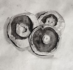 Pen and Ink - Mushrooms #food #stilllife #art #mushrooms #ink