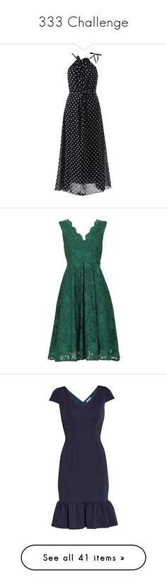 """""""333 Challenge"""" by catherine-lxii on Polyvore featuring dresses, chiffon halter top, polka dot chiffon dress, polka dot halter top, halter-neck dresses, polka dot dresses, scalloped lace dress, green lace dress, midi prom dress and v neck prom dress"""