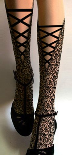 Designer Lace Up Style Black Floral Printed Sheer Tights Goth Fashion Pantyhose | eBay