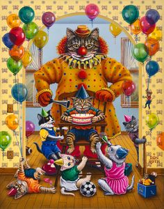 """Kool-Kat Birthday Party"" Painted by Don Roth. Prints available on web site."