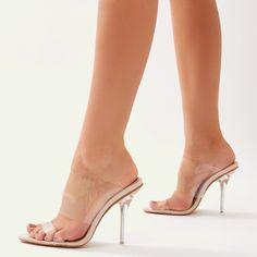Boujee Clear Perspex Heel Mules in Nude Nude Shoes, Stiletto Heels, High Heels, Sexy Sandals, Clear Heels, Women's Feet, Sexy Feet, Heeled Mules, Clear Perspex