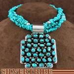 Sterling Silver Navajo Turquoise Pendant And Necklace Set Jewelry RS39954
