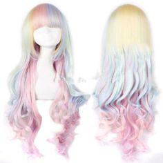 Lolita Harajuku Style Mixed Multi-Color Curly Long Hair Anime Cosplay Wig #FullWig