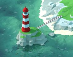 Low poly beacon on Behance: Low Poly Games, Polygon Art, Isometric Art, Low Poly 3d Models, 3d Artwork, Clipart, Game Design, Illustration Art, Art Illustrations