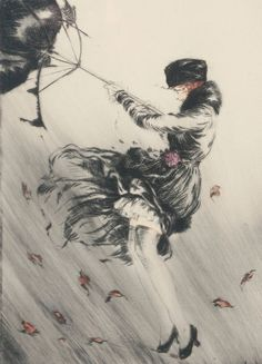 Louis Icart 'Lady With An Umbrella' (at least what is left of it!)