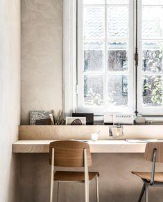 DIY: multiplex wall desk step by step get started yourself vtwonen - DIY: multiplex wall desk step by step get started yourself vtwonen - Furniture Decor, Modern Furniture, Furniture Design, Home Office Design, Home Office Decor, Home Decor, Plywood Walls, Interior Windows, Office Interiors