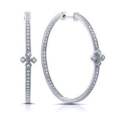 Sterling silver hoop earrings with flower and simulated diamonds by swarovski.  ZE-0254