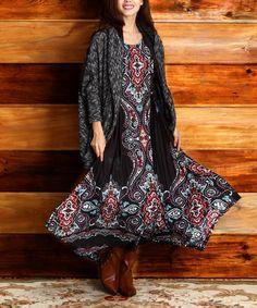 Loving this Black Scarf Print Handkerchief Dress on #zulily! #zulilyfinds