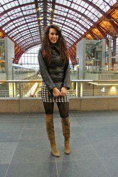 Curls and Bags by Nathalie Van den Berg: Outfit: pied-de-poule/ houndstooth skirt with overknee boots