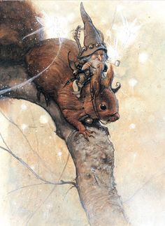 The squirrels could always be counted on to help the traveling Gnomes. by- Jean-Baptiste Monge Art And Illustration, Illustrations, Kobold, Fairy Art, Magical Creatures, Dragons, Fantasy Art, Fairy Tales, Concept Art