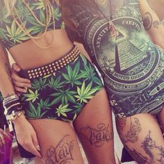 Weed Bodycon Two Piece Crop Top Hot Pants Dollar Bill Urban Fashion Swag Gold Studded Belt Dope Urban Streetwear Fashion