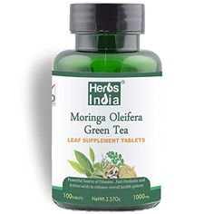 Moringa Green Tea Tablets 1000mg 100 Tablets  One Tablet with Multiple Benefits of Moringa  Green Tea in the Recommended Ratio of 8020 Unique Tablets with Benefits of TWO Herbs 100 Natural Herbal Dietary Supplement US FDA Registered Facility  Herbs India >>> You can get additional details at the image link.